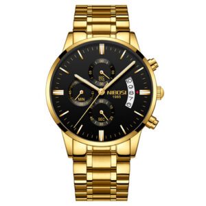 NIBOSI 2309 Chronograph Stainless Steel Band Wristwatches for Men- Gold Black